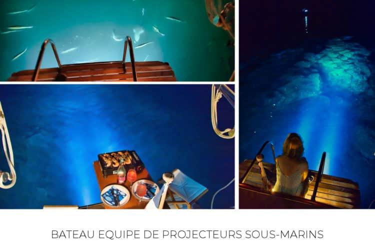 Bateau équipé de phares sous-marin