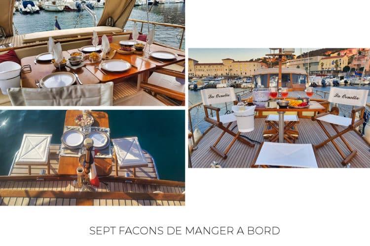 Manger à bord d'un bateau
